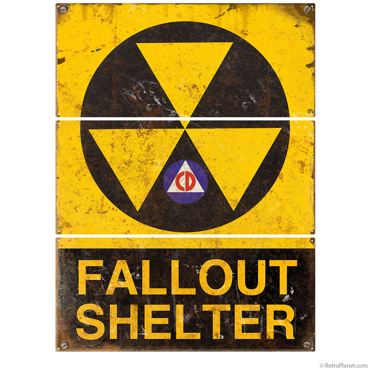Fallout Shelter Distressed Large Metal Signs | Triptych Wall Art ...