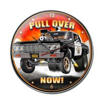 Police Muscle Car Pull Over Now Wall Clock