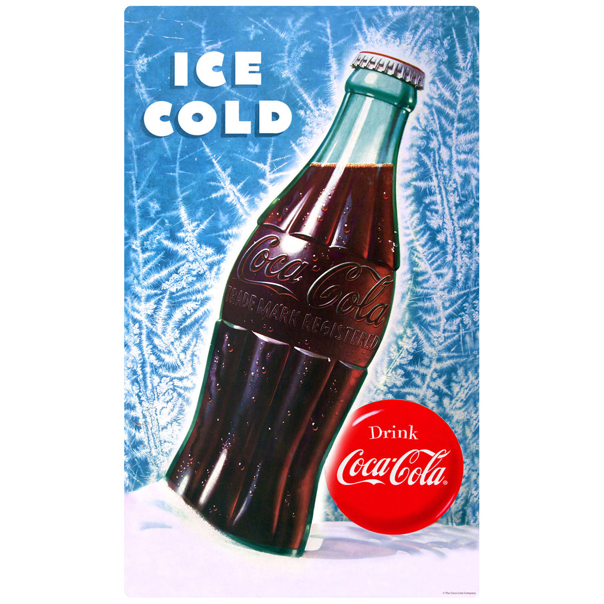 Coca Cola Bottle Ice Cold Wall Decal At Retro Planet