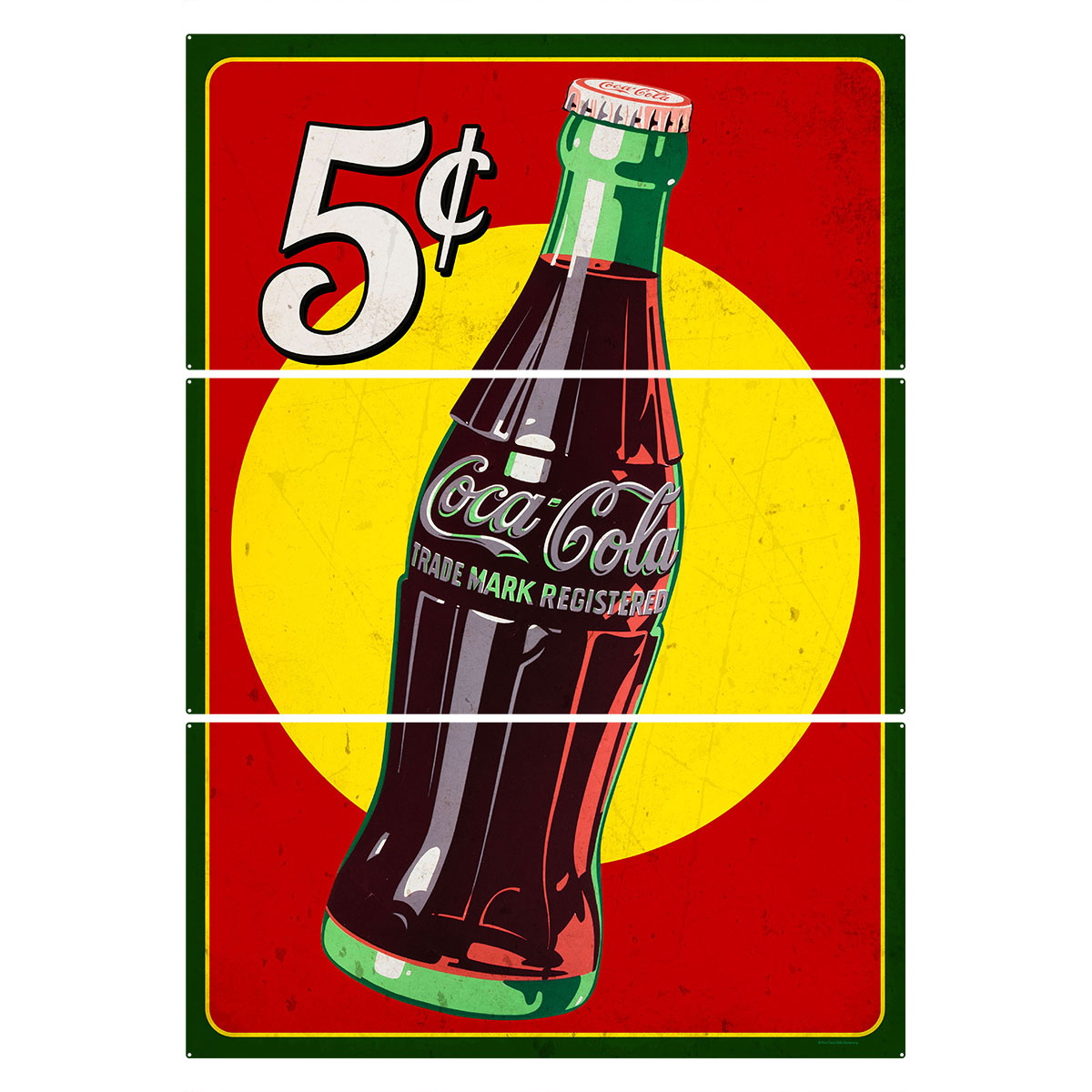 Coca-Cola 5 Cents Bottle Large Metal Signs Distressed | Triptych ...