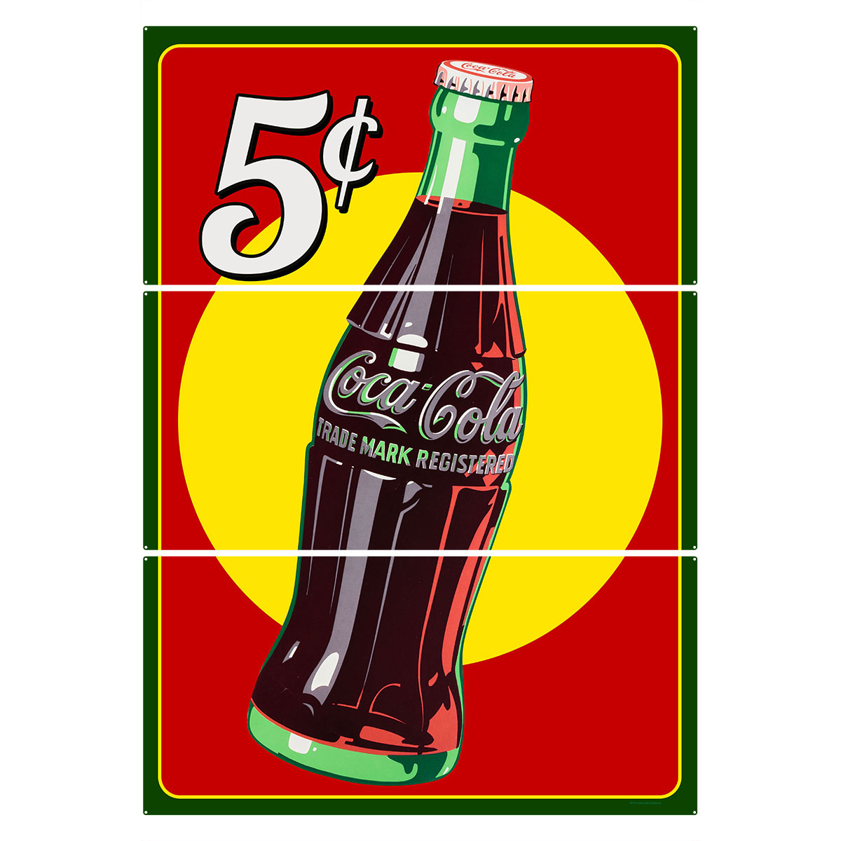 Coca-Cola 5 Cents Bottle Large Metal Signs | Triptych Wall Art ...