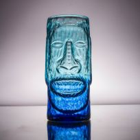 Moai Easter Island Head Tiki Mug Blue Glass