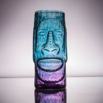 Moai Easter Island Head Tiki Mug Blue-Purple Glass