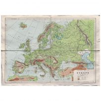 Europe Map Print Vintage Style