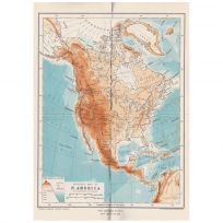 North America Physical Map Print Vintage Style