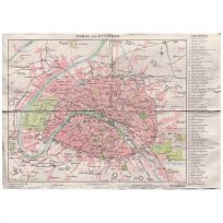 Paris France City Map Print Vintage Style