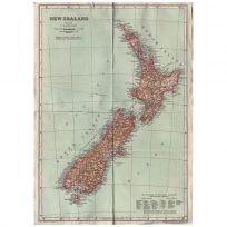 New Zealand Map Print Vintage Style