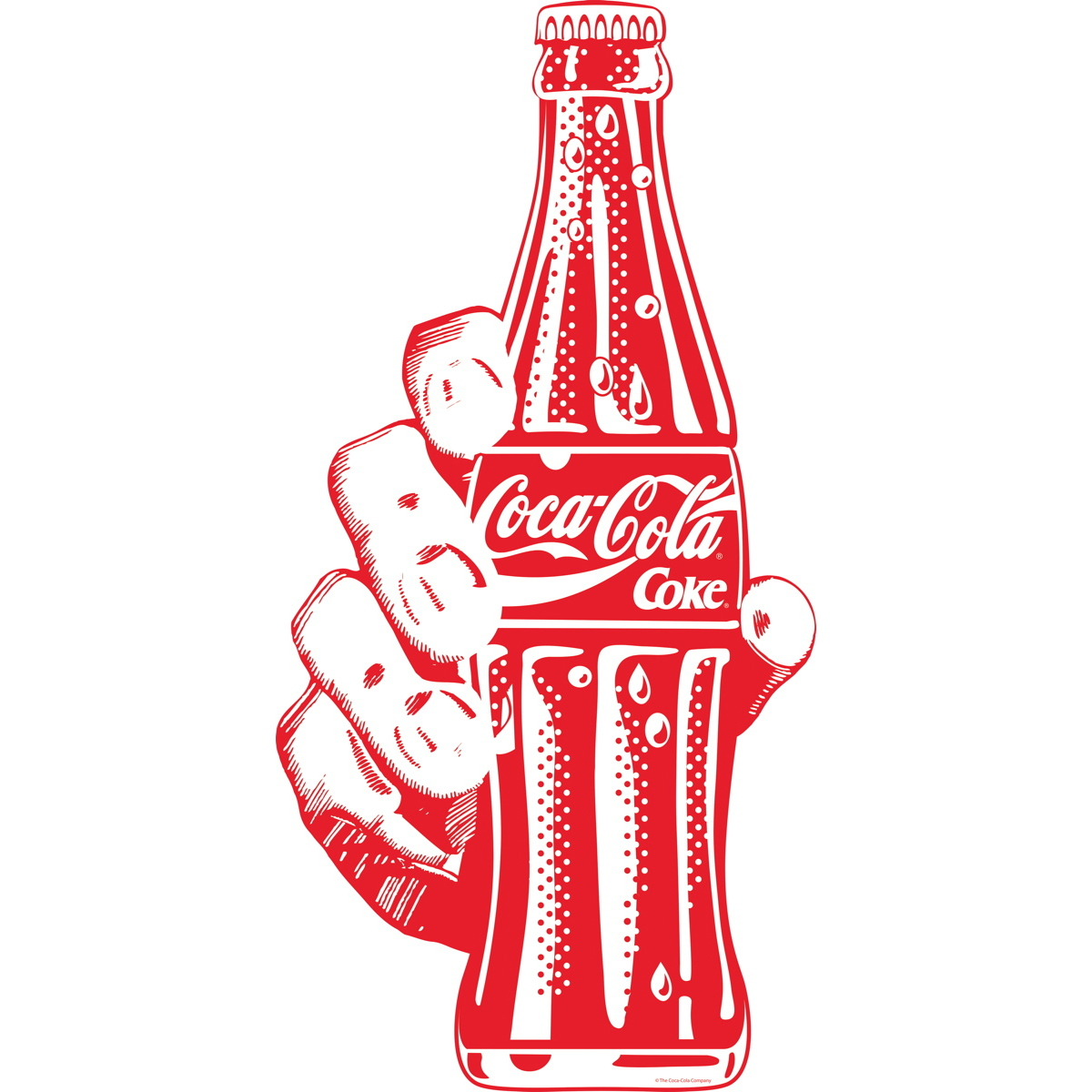 Coca Cola Red Bottle In Hand Pop Art Decal At Retro Planet