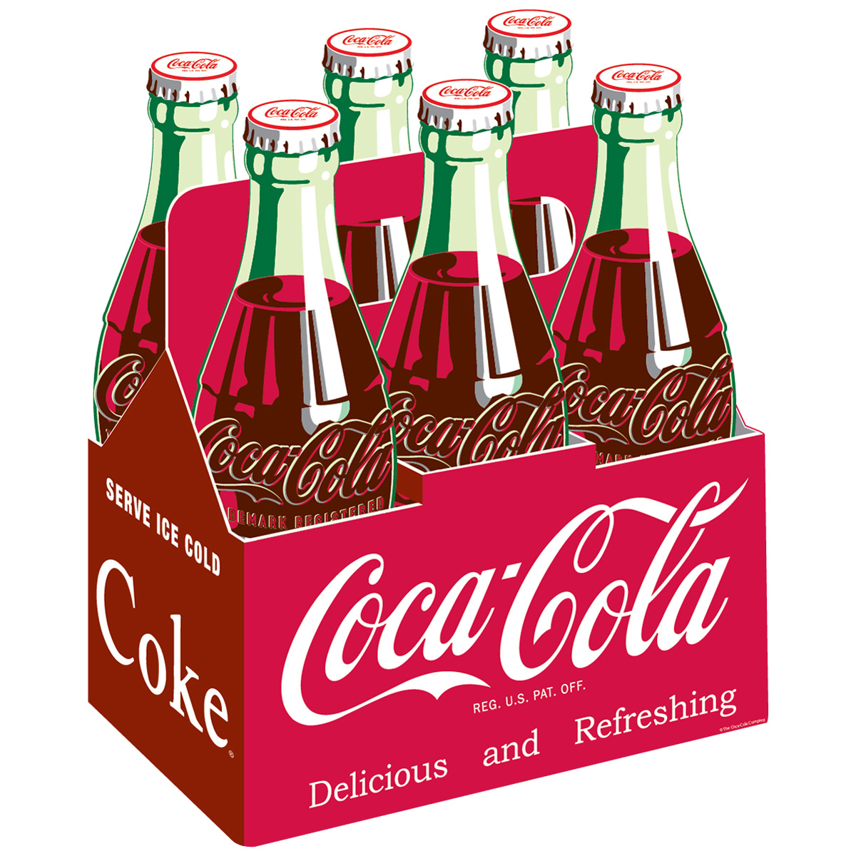 Coca-Cola 6 Pack Classic Carrier Decal 1940s Style Red At