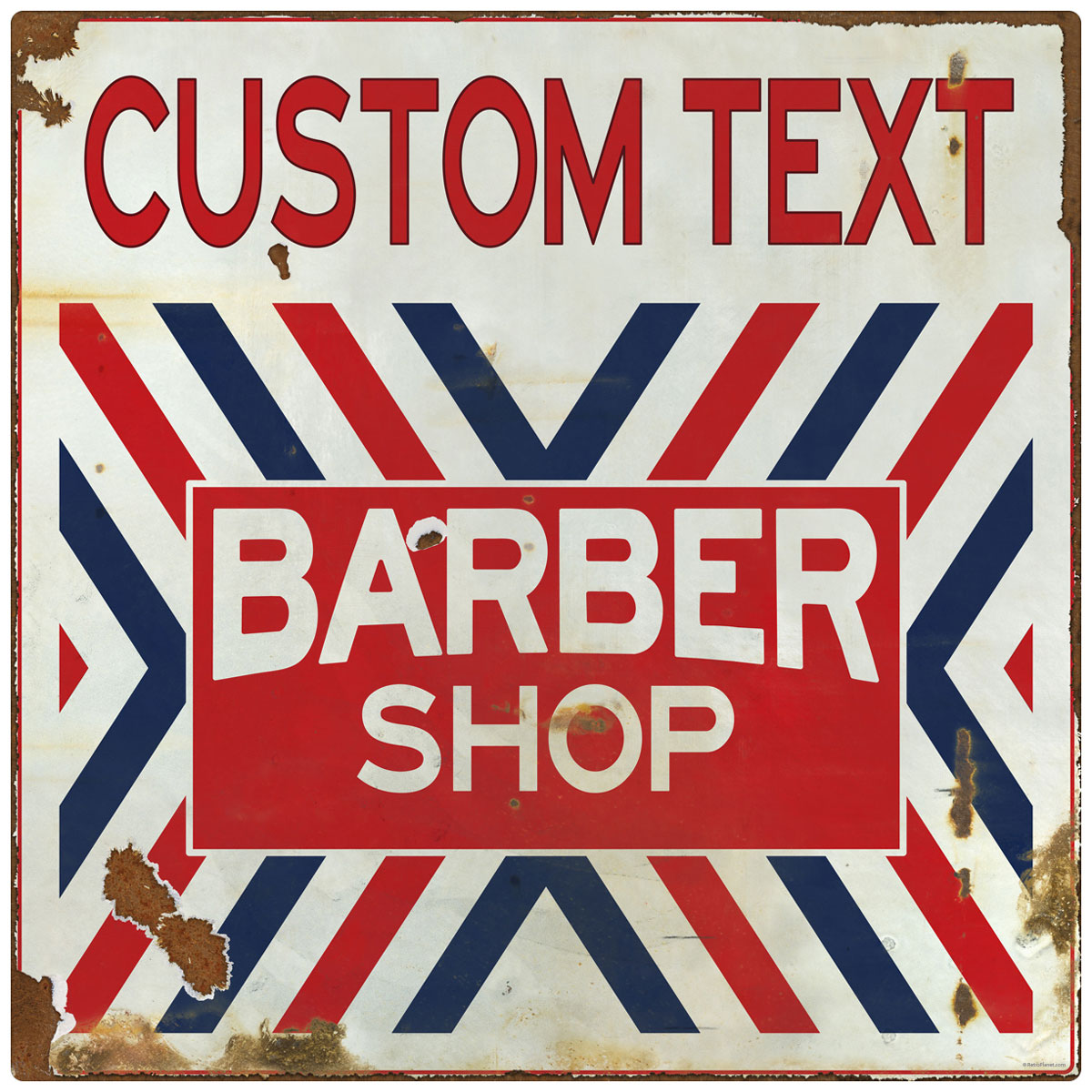 Barber Shop X Stripes Customizable Wall Decal Distressed At Retro Planet