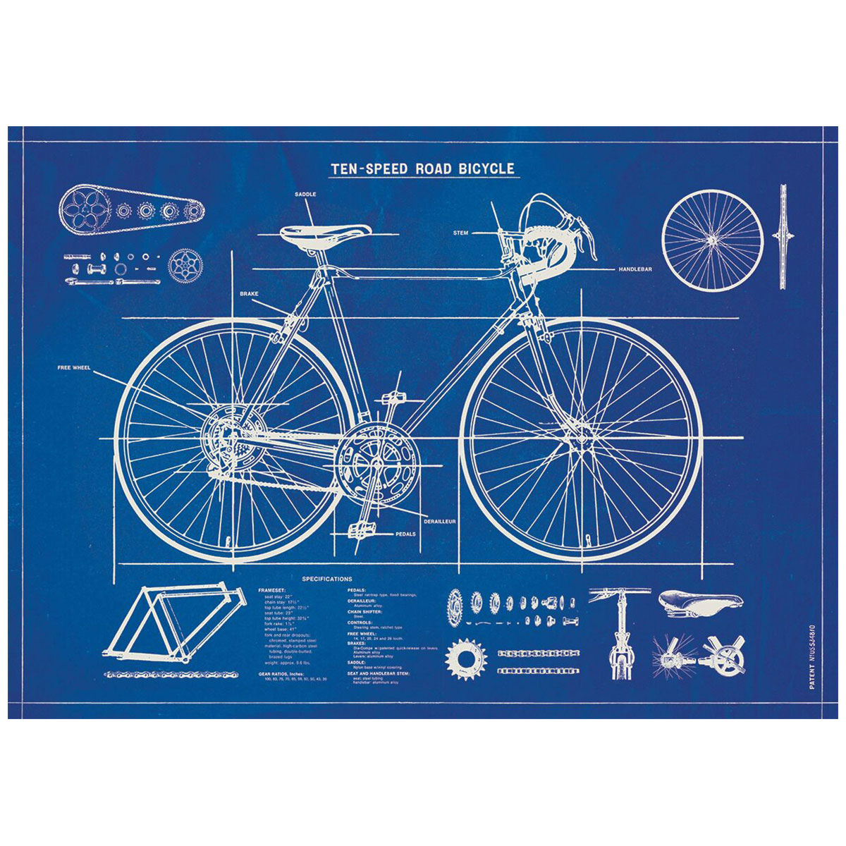 Ten speed bicycle blueprint vintage style poster decorative paper zoom malvernweather Image collections