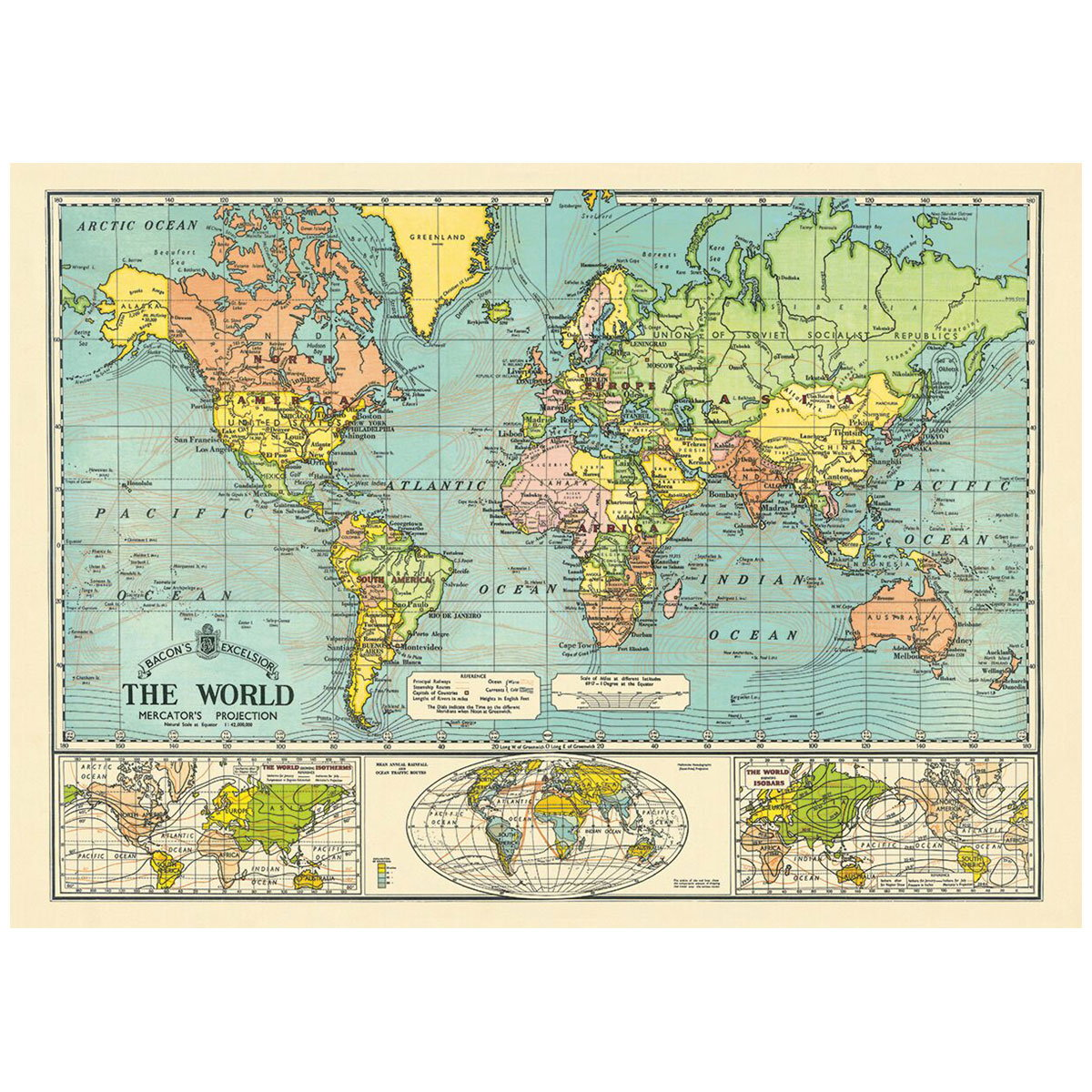Bacons world map vintage style poster decorative paper bacons world map vintage style poster close video gumiabroncs Images