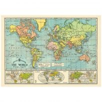 Bacons World Map Vintage Style Poster