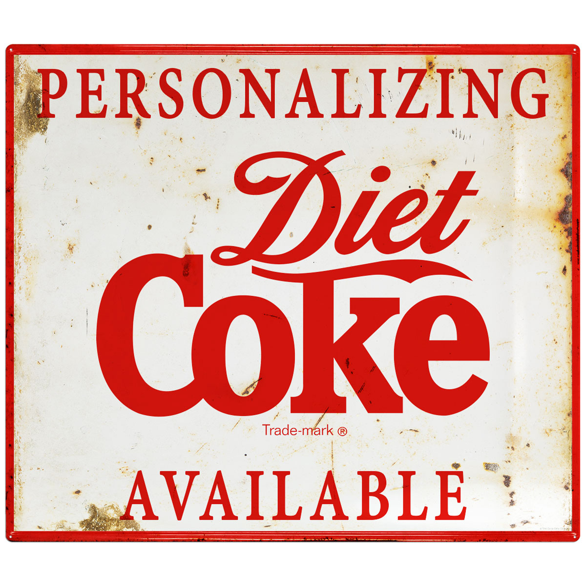 Diet Coke Personalized Metal Sign 1990s Style Script Distressed