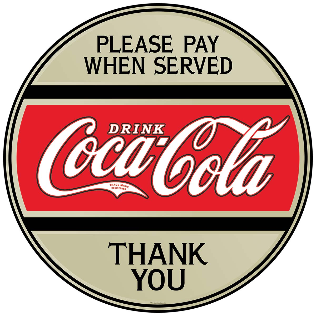 Coca-Cola Please Pay When Served Disc Decal At Retro Planet