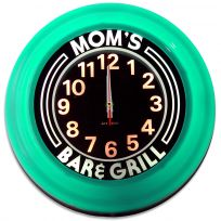Moms Bar and Grill Turquoise Lighted Kitchen Clock