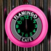 Flamingo Cafe Pink Lighted Kitchen Wall Clock