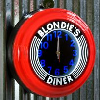 Blondies Diner Red Lighted Diner Wall Clock