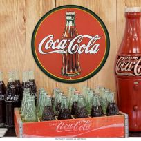 Coca-Cola Bottle Logo Red Round Metal Sign