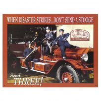 Fire Department Disaster Three Stooges Tin Sign
