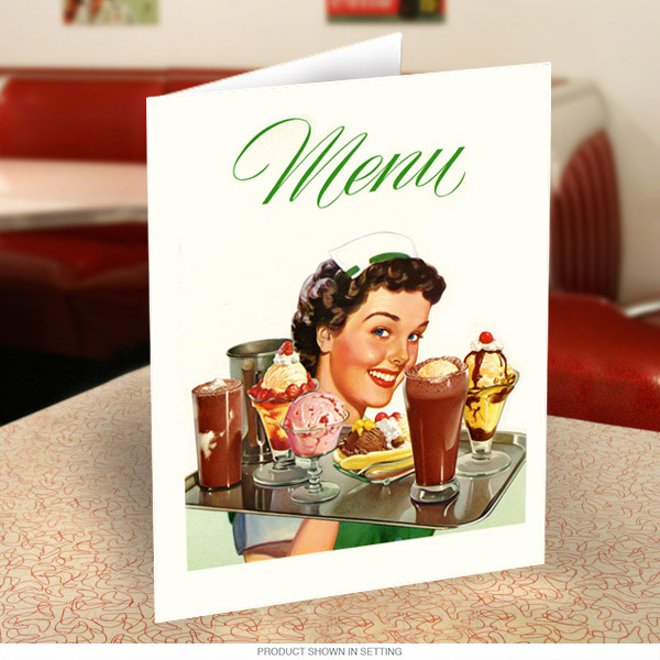 diner waitress 50s style menu cover at retro planet