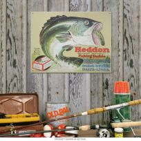 Heddon Fishing Tackle Bass Bait Tin Sign