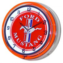 Ford Mustang Logo Double Neon Garage Wall Clock