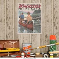Winchester Fishing Tackle Canoe Tin Sign