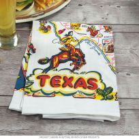Texas Souvenir State Map Kitchen Towel