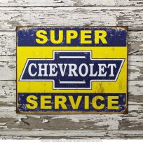 Chevrolet Super Service Weathered Tin Sign