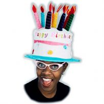 Happy Birthday Cake and Candles Velvet Party Hat_D