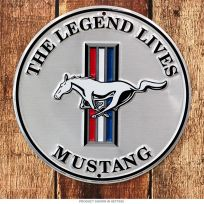 Ford Mustang The Legend Lives Silver Metal Sign