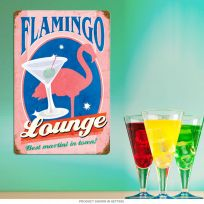 Flamingo Lounge Best Martini in Town Metal Sign