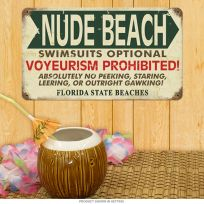 Nude Beach Swimsuits Optional Distressed Metal Sign