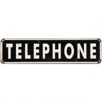 Telephone Distressed Steel Sign