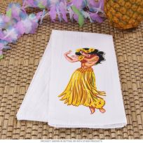 Hawaiian Hula Girl Flour Sack Dish Towel