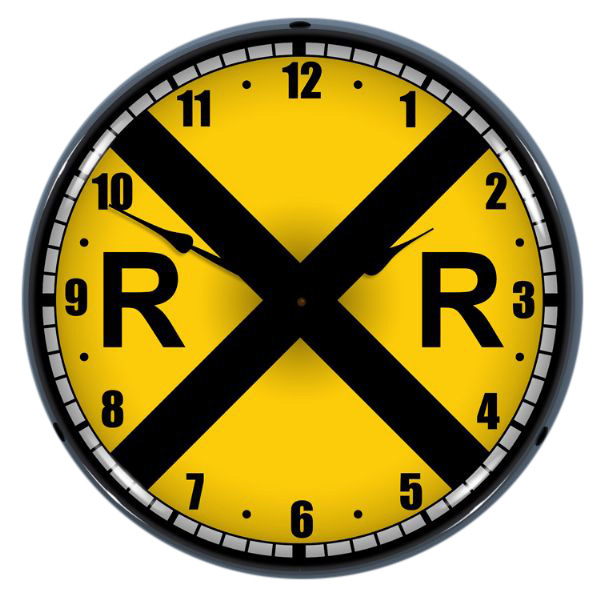 Railroad Crossing Train Signal Light Up Clock