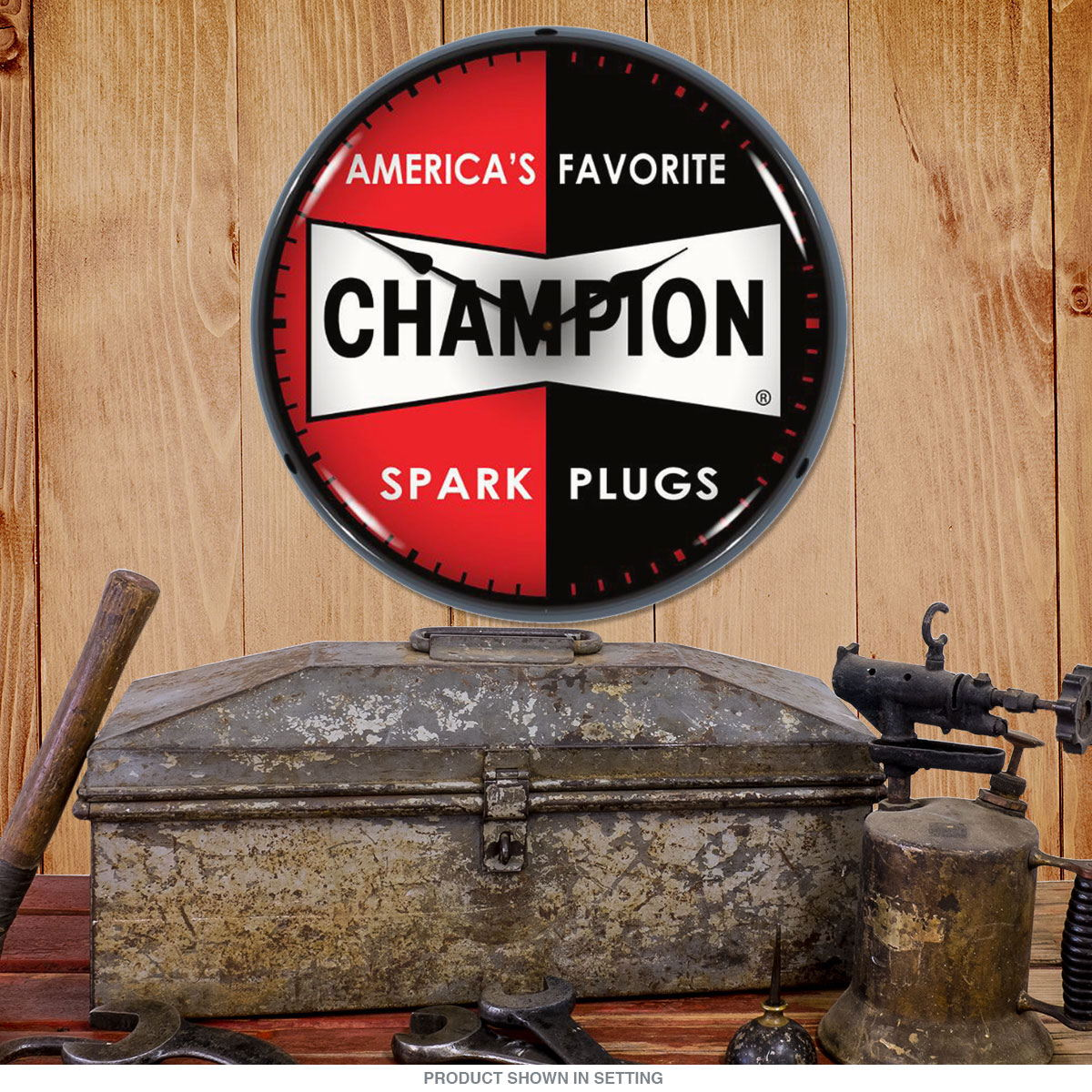 Champion Spark Plugs Logo Light Up Garage Clock