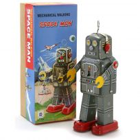 Space Man Walking Robot Wind Up Tin Toy