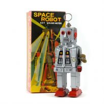 Space Robot Sparking Wind Up Walking Tin Toy