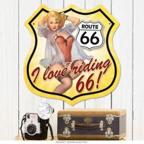 Love Riding Route 66 Pin Up Girl Shield Sign_D