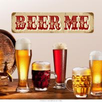 Beer Me Distressed Steel Bar Sign