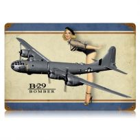 B-29 Bomber Pin Up Girl Metal Sign_D