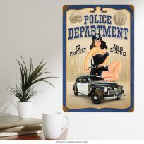 Police Department Pin Up Girl Metal Sign