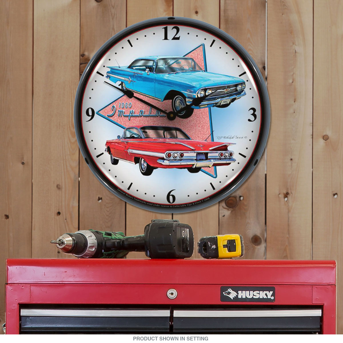 Chevrolet Impala Muscle Car Light Up Garage Clock