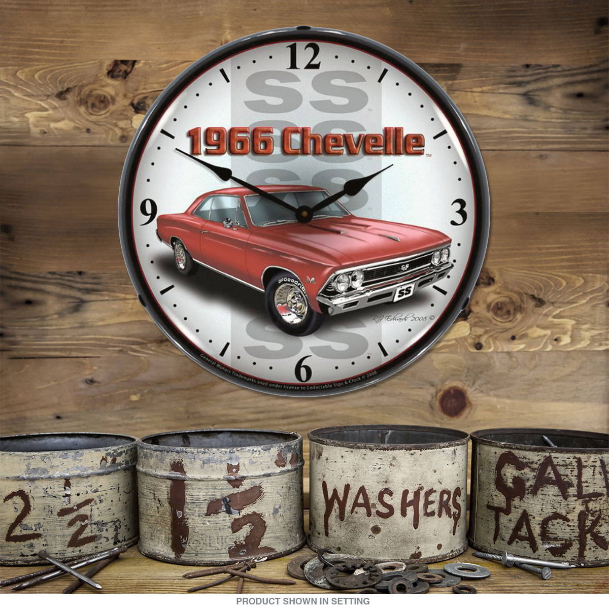 Chevrolet 1966 Chevelle SS Red Light Up Garage Clock