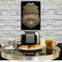 Harley-Davidson Police Shield Badge Garage Sign