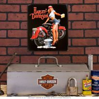Harley-Davidson Babe Wash Pinup Tin Sign