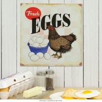 Fresh Eggs Chicken Farm Metal Sign