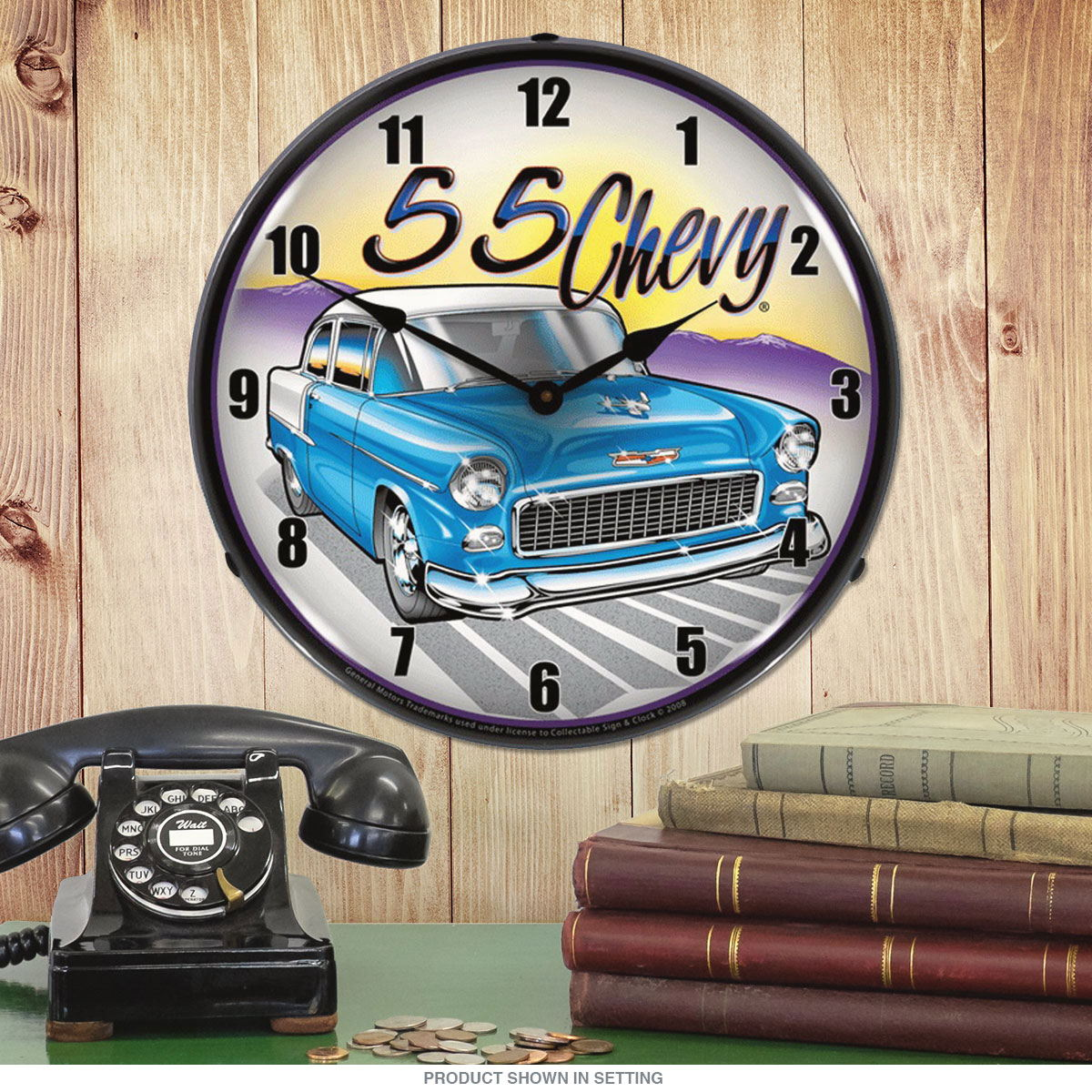 1955 Chevy Bel Air Blue Led Light Up Vintage Garage Wall Clock 14 In At Retro Planet